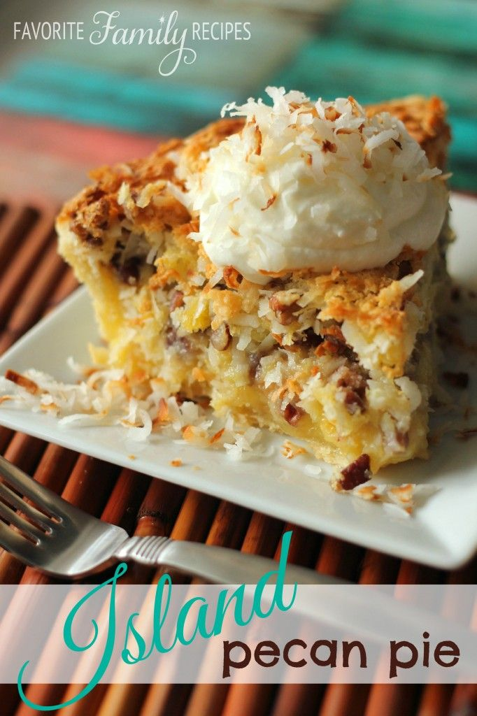 Island Pecan Pie ~ A pineapple coconut pecan pie that is a famous pie in a diner in Arkansas.  It is seriously amazing!