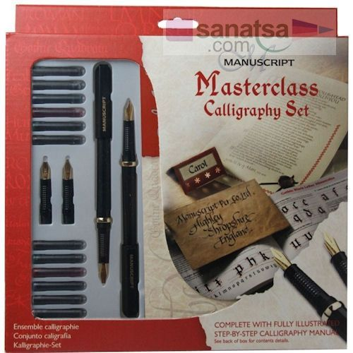 Manuscript Masterclass Calligraphy Set 2 Kalem + 4 Uç + 12 Renkli Kartuş + Çalışma Bloğu