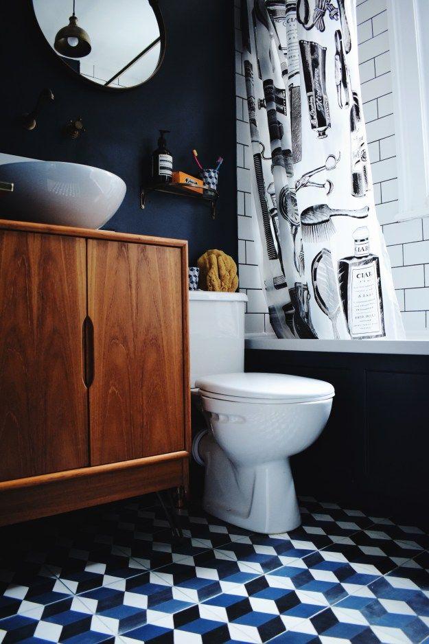 Bathroom Decorating ideas: Our Blue, Brass & Metro Bijou Bathroom | Design Soda : Interiors Blog brass-bath-tap-fittings-encaustic-cement-tiles-hague-blue-teak-vanity-bathroom