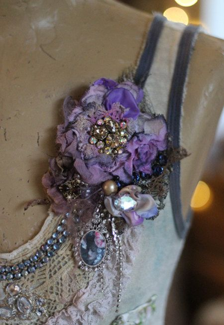Crocus embroidered and beaded brooch mixed media by FleursBoheme