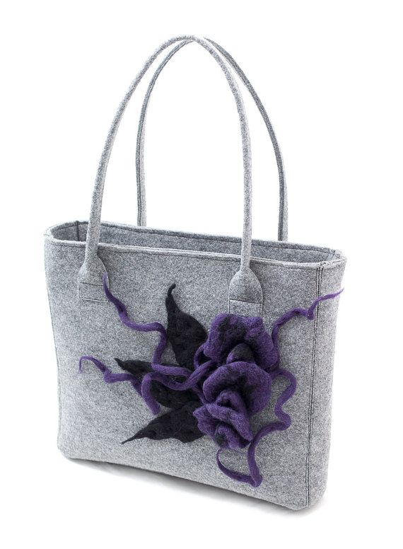 Grey felt handbag with a floral motif. Violet felted flowers by Anardeko