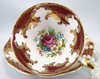 Very Elegant,Cabinet Royal Standard Footed Duo,Floral Pattern,Burgundy Gilded Borders, Wide Mouth, Bone English China made in 1970s.