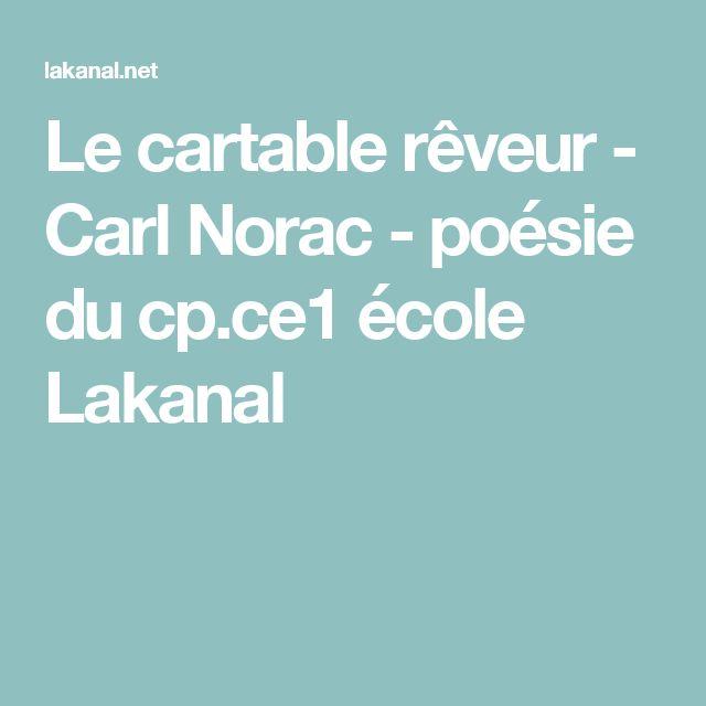 Le cartable rêveur - Carl Norac - poésie du cp.ce1 école Lakanal