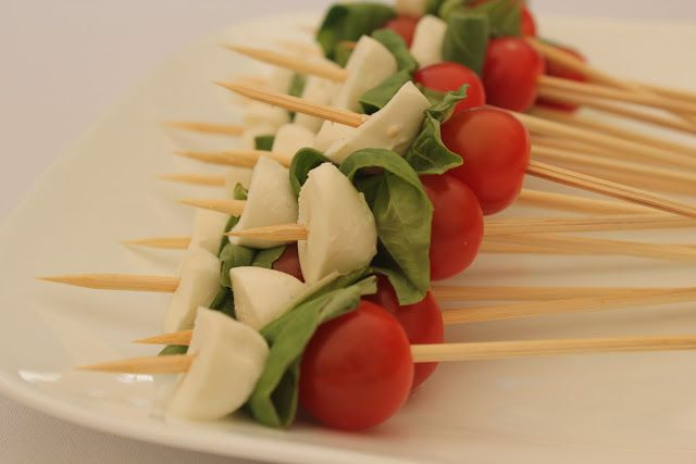 Red, white, and green caprese skewers for Italian-themed bridal shower