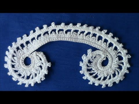 ▶ Irish Crochet Basics, a double picot scroll - YouTube