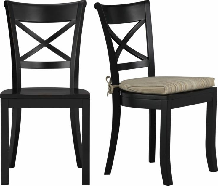 Vintner Black Side Chair and Latte Stripe Cushion in Dining Chairs | Crate and Barrel