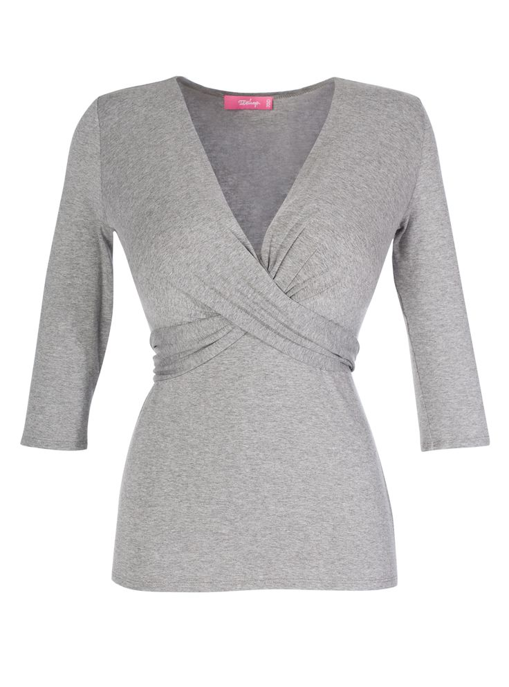 Wrap tie top in grey melange | Blouse for a large bust | DD Atelier