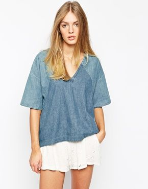 Mih Jeans - Top stile poncho oversize in denim da concerto