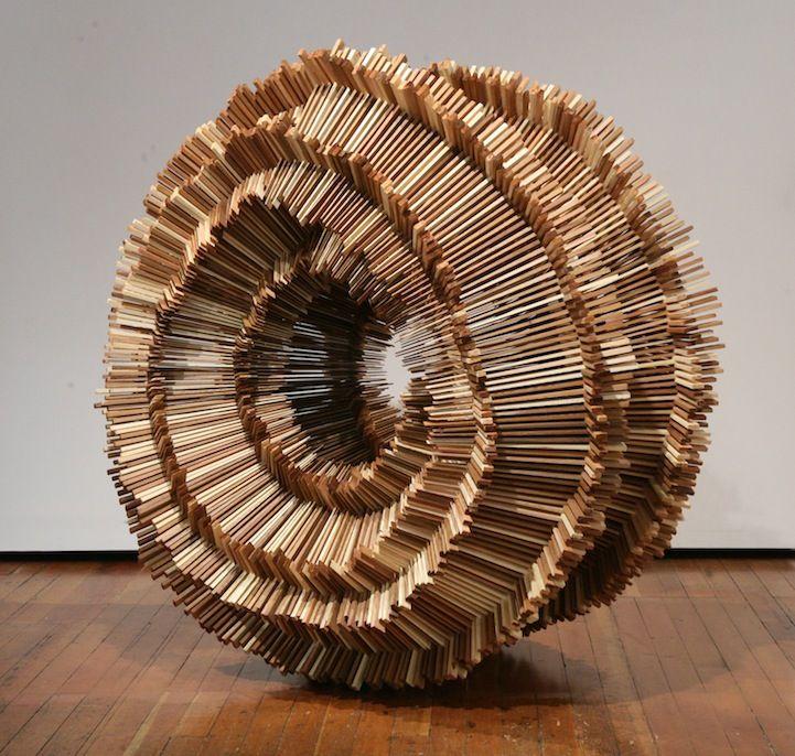 Hundreds of Pieces of Stacked Wood Form Beautifully Organic Sculptures by Ben Butler.  http://www.benbutlerart.com/sculpture
