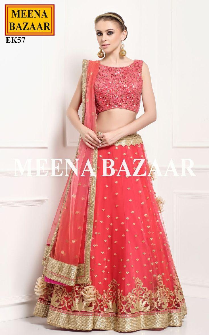 Rose Red Net Lehenga Choli @ MeenaBazaar