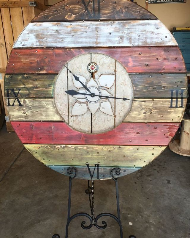 cable spool wall clock, crafts, painting, repurposing upcycling