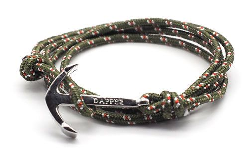 men's forest green rope bracelet with silver anchor - The Art