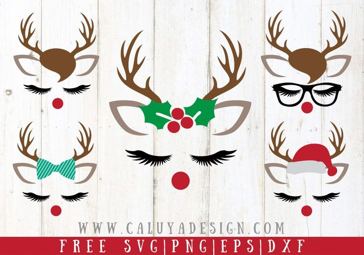 FREE Reindeer Faces Free SVG, PNG, EPS, DXF Compatible with Cricut, Cameo Silhouette Free Christmas SVG