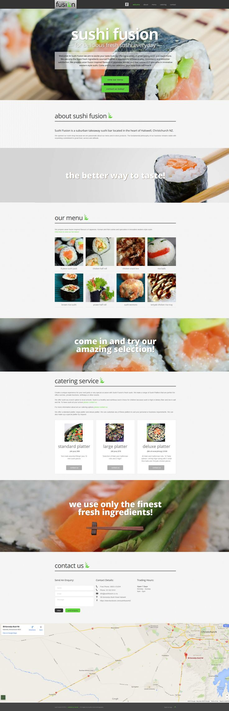 Sushi Fusion one page parallax scrolling website design and development