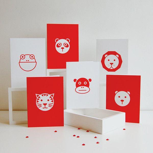 Set of Six Graphic Animal Cards — Polar