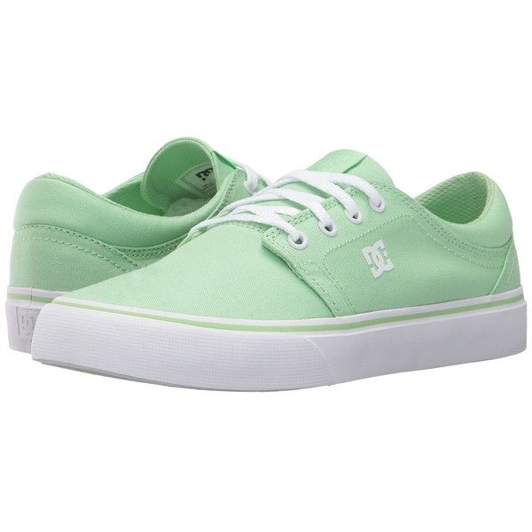 DC Trase TX (Pistachio Green) Women's Skate Shoes (€38) ❤ liked on Polyvore featuring shoes, low profile skate shoes, skate shoes, dc shoes, low top skate shoes and green skate shoes