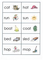 Printable Match Game for Rhyming Words. Depending on the ability of your child, play one, two or all three sheets.