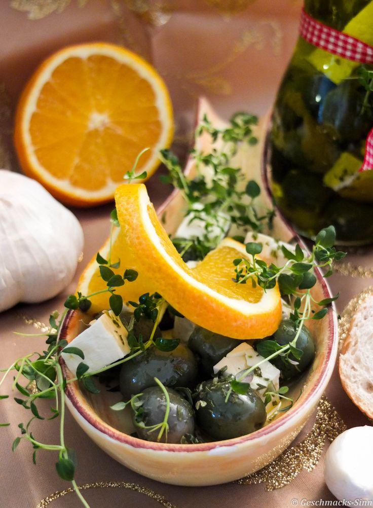 Mediterran einelegte Oliven und Feta in Öl