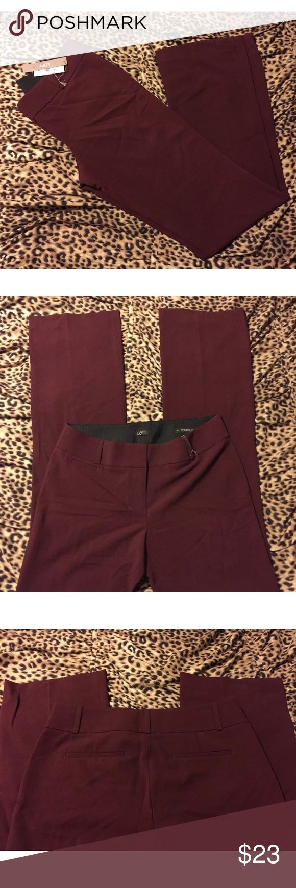 "Ann Taylor LOFT ""Marisa"" Burgundy Boot Cut Pants Ann Taylor LOFT ""Marisa"" burgundy boot cut dress pants Women's size 4 TALL!  66% Polyester, 30% Rayon, 4% Spandex  Waist: 32"" Inseam: 38"" Ann Taylor Pants Trousers"