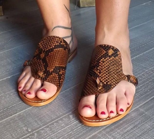 Sandali  bassi donna, in vero cuoio e vera pelle, 100% made in Italy e fatto a mano. di iuzza su Etsy