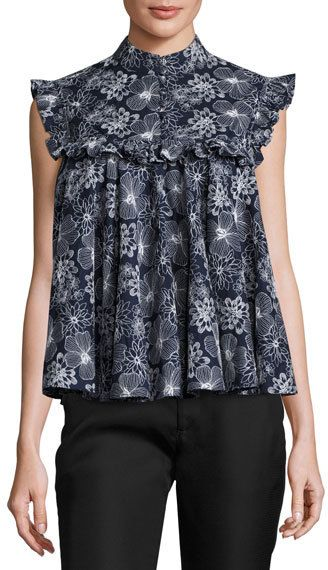 Co Floral Ruffled Sleeveless Blouse, Navy