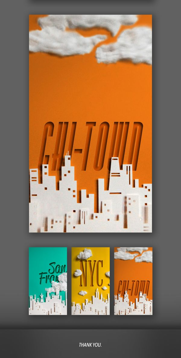 Paper Cities by Ali Prater, via Behance
