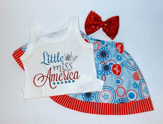 4th of July Twirl Skirt Set RTS Little Miss America