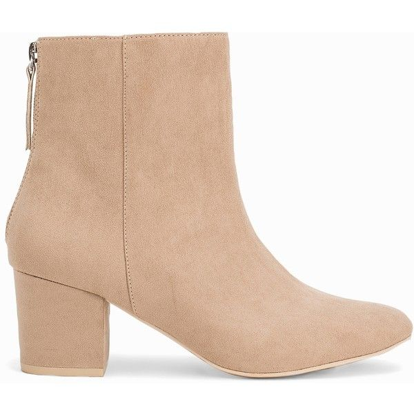 Nly Shoes Mid Block Heel Boot (260 SEK) via Polyvore featuring shoes, boots, ankle booties, ankle boots, bootie boots, short boots, zipper boots, faux suede boots and round toe boots
