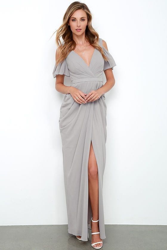 Bariano Graze-ful Dancer Grey Maxi Dress at Lulus.com!