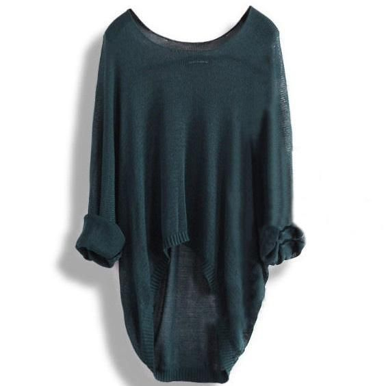 Long-sleeved knit shirt blouse hollow A 083102 z