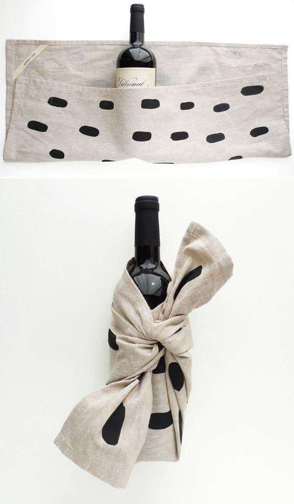 House warmimg. Wrap a wine bottle in a cute tea towel.
