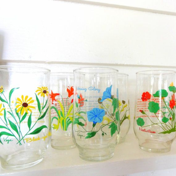 Vintage Flower Knowledge Drinking Glasses, Juice Glasses