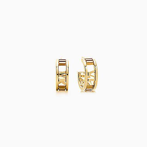 Atlas® hoop earrings in 18k gold, mini.