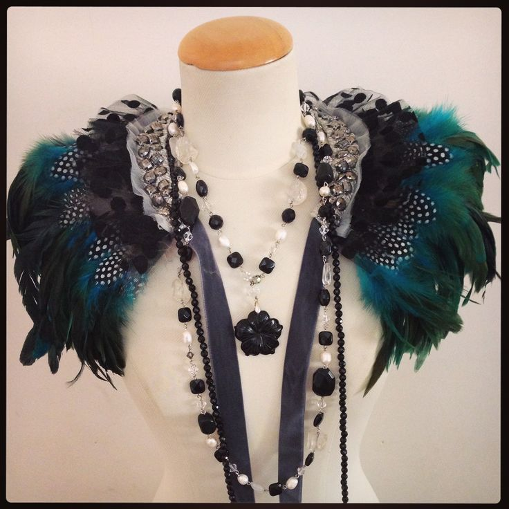 Green/Torquoise Feather Capelet, Sonia M Designs