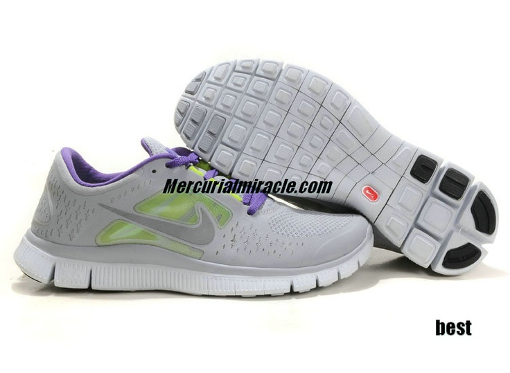 Womens Nike Free Running Shoes - Nike Free Run 3 5.0 Wolf Grey Reflect Silver Pure Platinum - $50.76