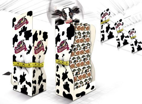 Skinny Cow instore marketing. Custom built Free Standing Display Units (FSDU's) with 'taped' waists.  *** Design, print and build by The Printed Image in Ireland. ***