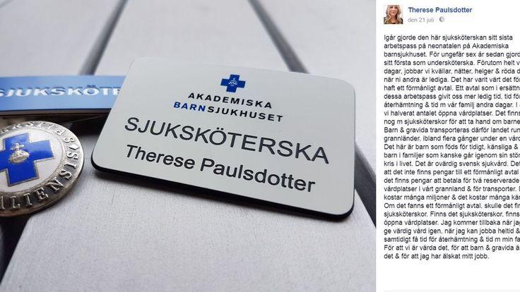 """Sköterska sa upp sig från barnsjukhuset: """"Ovärdigt svensk sjukvård""""."""