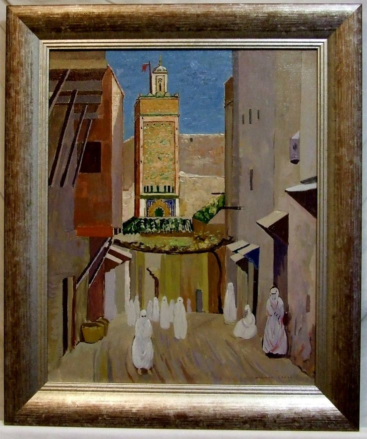 Original oil paintings pair Norman Lloyd Morocco streets framed etsy olidays global gift Freight cost extra by ElegantPossessions on Etsy