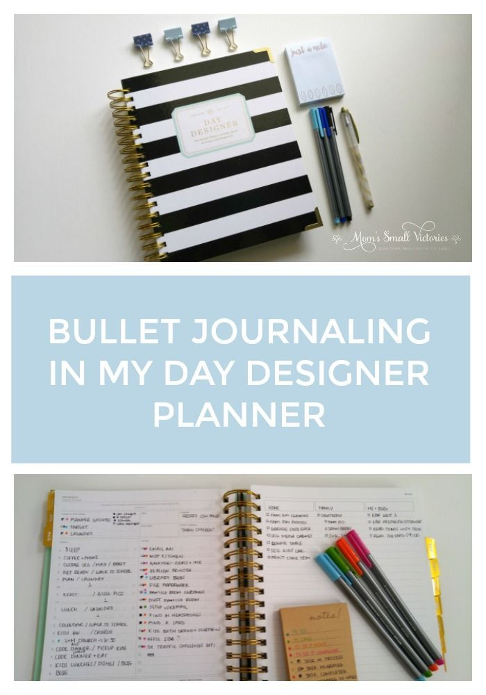 Bullet Journaling in My Day Designer Planner combines the best of 2 planning systems. Daily layouts with everything I need to track my schedule, todos, dinner, gratitude and health with the bullet journal method of migrating tasks and using notes pages fo