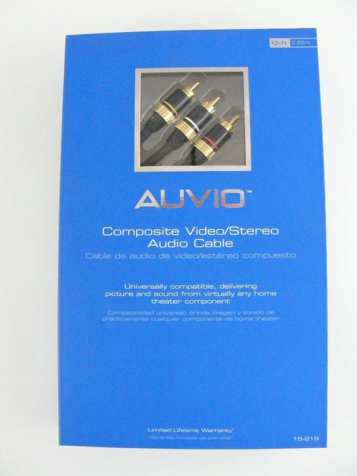 Composite Video/Stereo Audio Cable AUVIO 12ft 24K Gold-plated Connectors 150-219 #Auvio #VideoStero