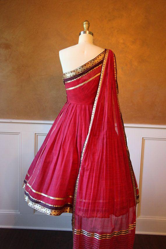 1950s Dress Vintage 50s Dress Red Silk Sari by jumblelaya