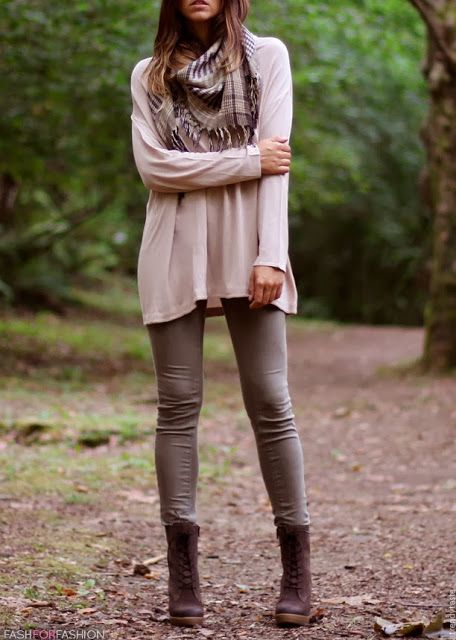 Brown Plaid Scarf, Light Colored Baggy Sweater, Light Gray Leggings, and Brown Boots. mhm
