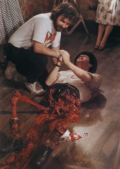 Peter Jackson on the set of Braindead (1992) (dead alive in usa)