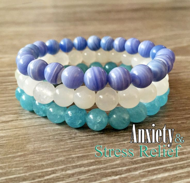Genuine Healing Bracelets for Anxiety and Stress, Blue Lace Agate, White Jade, Aquamarine Bracelet, Healing Crystals, Bracelet Stack, Mala by PeekaBelle on Etsy https://www.etsy.com/listing/285701525/genuine-healing-bracelets-for-anxiety