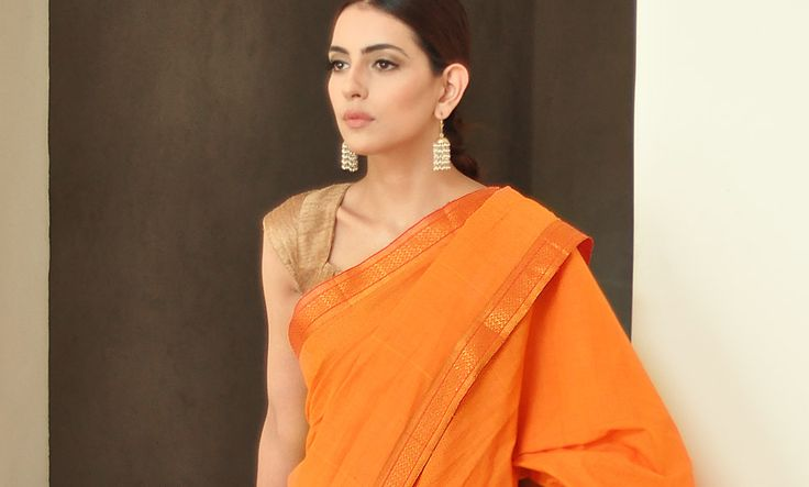 Buy Simplicity Curated by Jaypore Missing Checks Cotton Sarees with Zari Borders Online at Jaypore.com