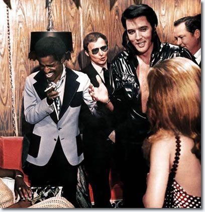 Elvis & Sammy Davis Jnr, back stage  opening night 1969