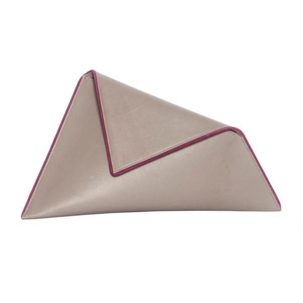 Large Grey Asymmetric Clutch by Georgina