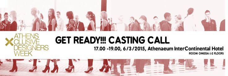 LAST ROUND! CASTING CALL!!  Η 17η ΑXDW αναζητά επαγγελματίες μοντέλα, αγόρια και κορίτσια και σας περιμένει αύριο στις 17.00 για casting. Απαραίτητη προϋπόθεση να έχετε μαζί σας το portfolio σας.