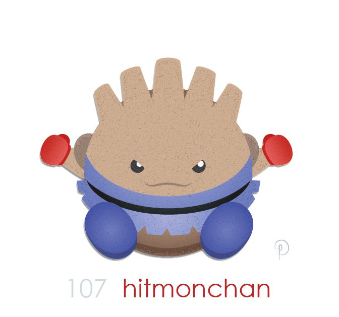 HitmonCHAN! The homage to, I'm pretty sure- Jackie Chan. This one makes a little less sense to me. Jackie Chan knows martial arts. Hitmonchan is a boxer… Perhaps there's a famous boxer with the last...