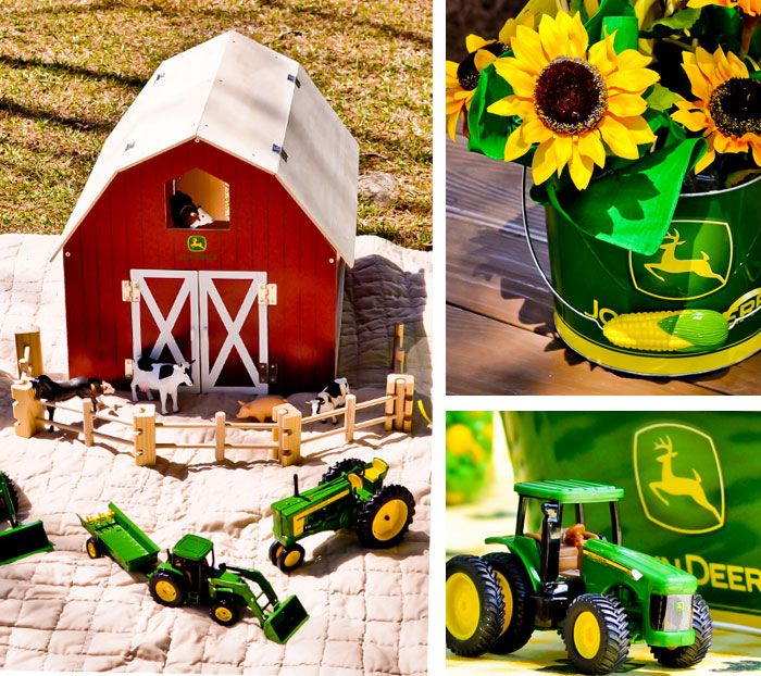 John Deere Tractor Birthday Party - Farm Theme Boy Party Ideas - Kara's Party Ideas - The Place for All Things Party. use Es farm toys